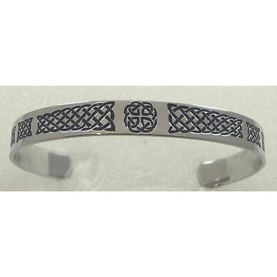 Celtic Bracelet - Stainless Steel Black Enamel Celtic Cuff Bracelet