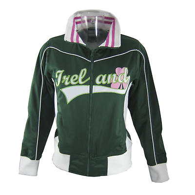 Irish Jacket - Ladies Green and Pink Ireland Track Jacket