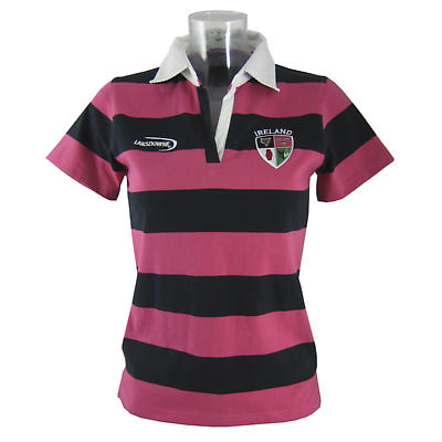 Irish Rugby Shirt - Ladies Navy and Pink Striped Ireland 4 Provinces Short Sleeve Rugby Shirt