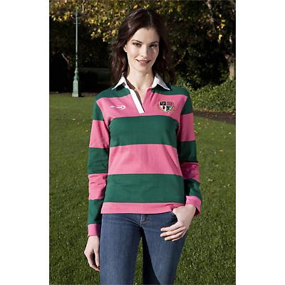 Irish Rugby Shirt - Ladies Green and Raspberry Striped 4 Province Rugby Shirt