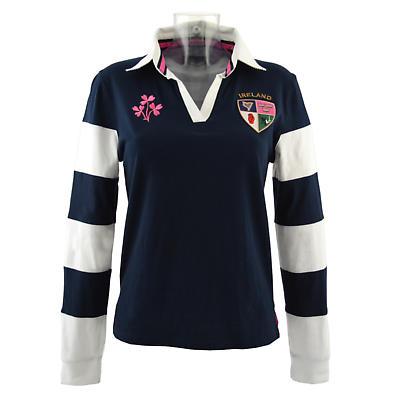 Irish rugby shirt ladies navy and white striped 3 for Pink and purple striped rugby shirt