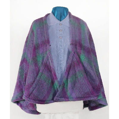 Celtic Ruana - Donegal Design 100% Mohair Ruana Cape with Pockets