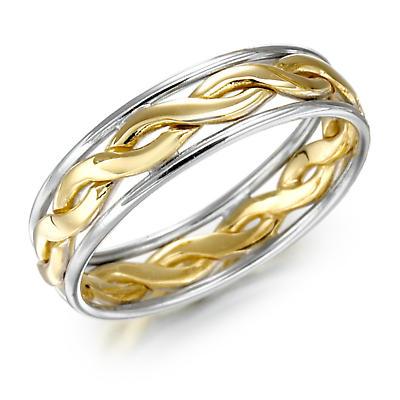 Irish Wedding Ring - Ladies Gold Two Tone Celtic Knot Wedding Band