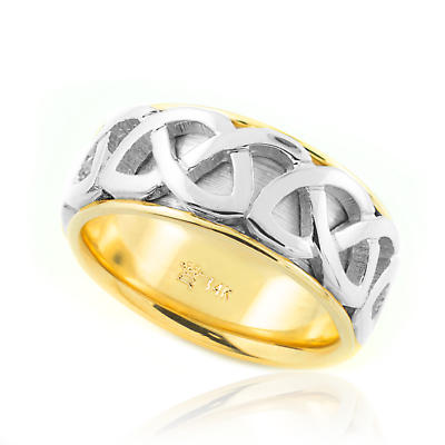Celtic Ring - Two-Tone Gold Celtic Knot Wedding Band
