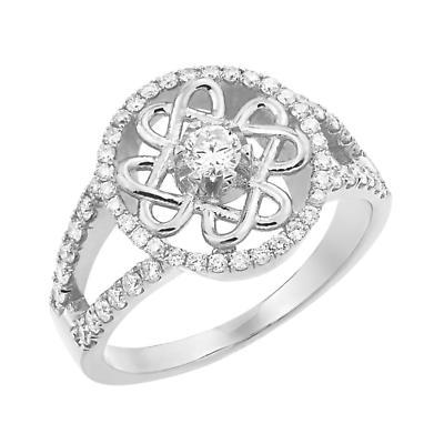 Celtic Wedding Ring - Ladies White Gold Diamond Celtic Knot Engagement Ring