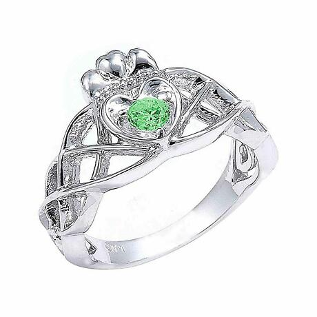 Claddagh Ring - White Gold Claddagh Knot Engagement Ring with Green CZ