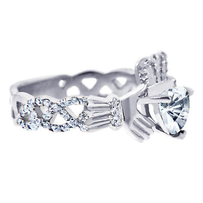 Claddagh Ring - White Gold Diamond Claddagh Ring 0.40 Carats with Clear Stone