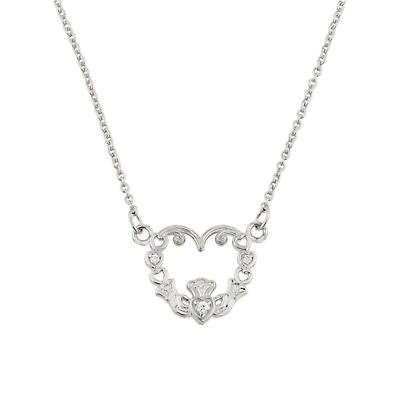 Claddagh Necklace - 14K White Gold Diamond Claddagh Necklace