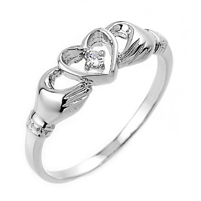 Claddagh Ring - White Gold Claddagh Ring with Diamond