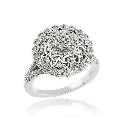 Celtic Ring - 14k White Gold Celtic 1 ct. Diamond Engagement Ring