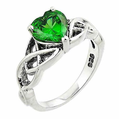 Celtic Ring - Sterling Silver Celtic Knot with Heart Shaped Green Emerald Stone