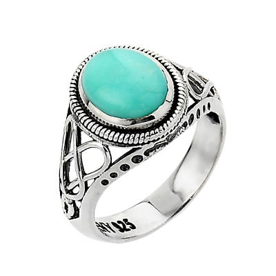 Celtic Ring - White Gold Trinity Knot Turquoise Ring
