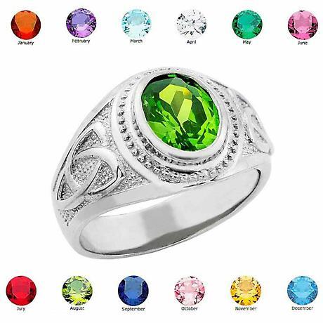 Celtic Ring - Men's Sterling Silver Birthstone CZ Ring