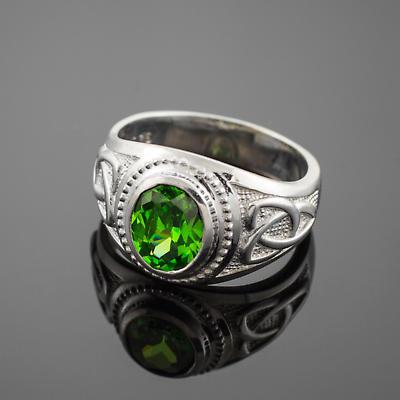 Celtic Ring - Men's White Gold Celtic Green Oval CZ Ring