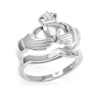 Claddagh Ring - Two-Piece White Gold Claddagh Engagement Ring with Band
