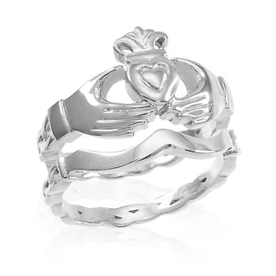 Claddagh Ring - Two-Piece Sterling Silver Claddagh Engagement Ring with Celtic Band
