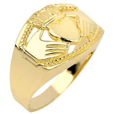 Claddagh Ring - Men's Gold Claddagh Ring Bold