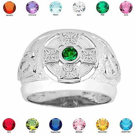 Celtic Ring - Men's Sterling Silver Celtic Birthstone CZ Ring