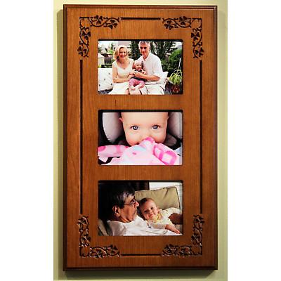 Three-Photo Shamrock Wood Frame
