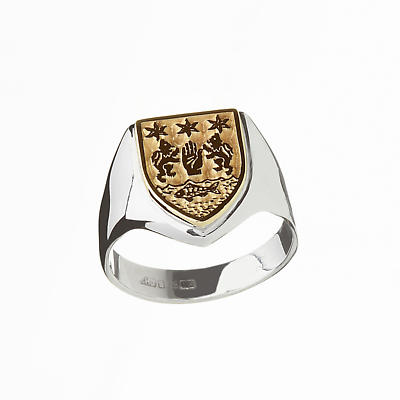 Irish Ring - Coat of Arms Sterling Silver and 10k Gold Mens Heavy Shield Heraldic Ring