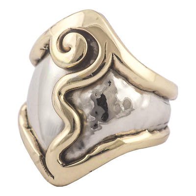 Grange Irish Jewelry - Hammered Silver Two Tone Spiral Ring