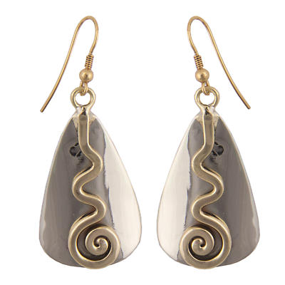 Grange Irish Jewelry - Silver Two Tone Celtic Spiral Triangle Drop Earrings