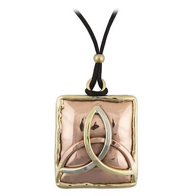 Grange Irish Jewelry - Copper Three Color Trinity Knot Square Pendant