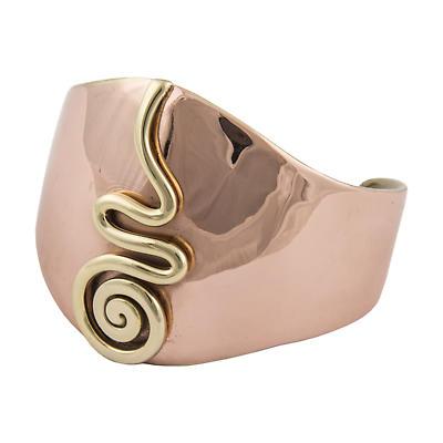 Grange Irish Jewelry - Copper Two Tone Center Celtic Spiral Wide Bangle