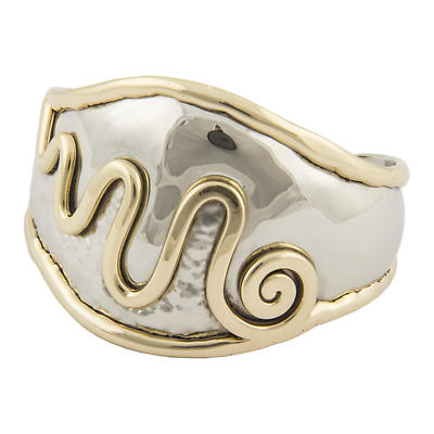 Grange Irish Jewelry - Hammered Silver Two Tone Celtic Spiral Wide Bangle