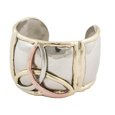Grange Irish Jewelry - Silver Three Color Trinity Knot Wide Bangle