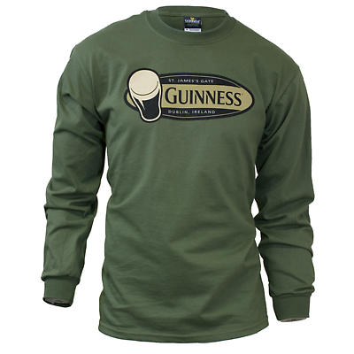 Guinness Shirt - Military Green Guinness Pint Long Sleeve Irish T-Shirt