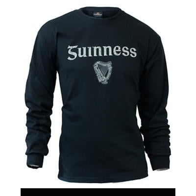 Guinness Shirt - Black Guinness Gaelic Label Long Sleeve Irish T-Shirt
