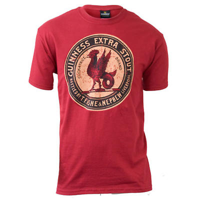 Guinness Shirt - Red Guinness Vintage Label Irish T-Shirt