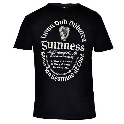 Guinness Shirt - Black Distressed Gaelic Guinness Label Irish T-Shirt