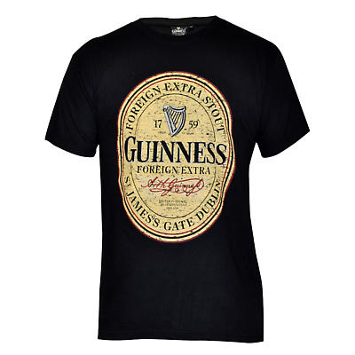Guinness Shirt - Black Distressed English Guinness Label Irish T-Shirt