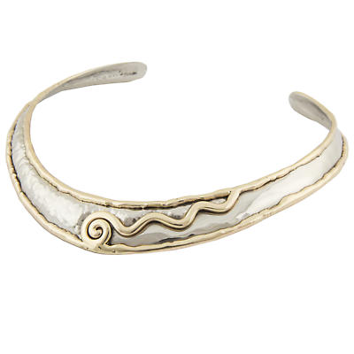 Grange Irish Jewelry - Hammered Silver Two Tone Celtic Spiral Torque Necklace