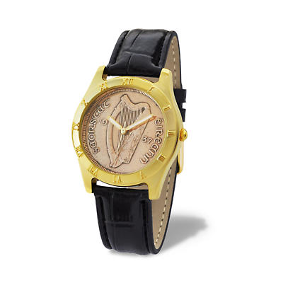 Irish Penny Watch - Black Leather Band