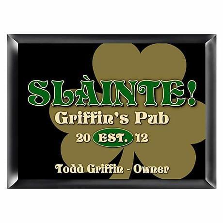 Personalized Gold Shamrock Pub Sign