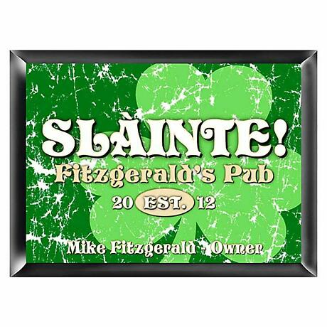 Personalized Jolly Green Shamrock Pub Sign