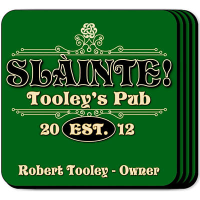 Personalized Irish Coaster Set - Slainte Classic