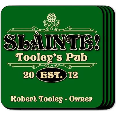 Personalized Irish Coaster Set - Slainte Classic