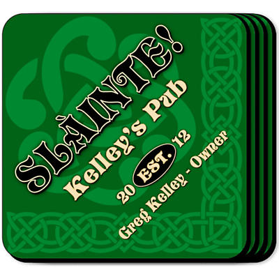 Personalized Irish Coaster Set - Slainte Green