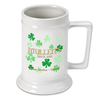 Personalized 16 oz. Irish Beer Stein - Raining Shamrocks