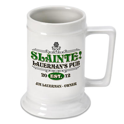 Personalized 16 oz. Irish Beer Stein - Slainte