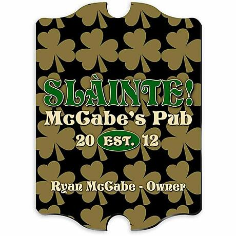 Personalized Vintage Field of Shamrocks Pub Sign