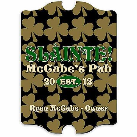 Personalized Vintage Field of Shamrocks Pub Sign