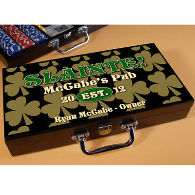 Personalized Poker Set - Field of Shamrocks
