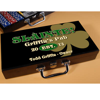 Personalized Poker Set - Gold Shamrock