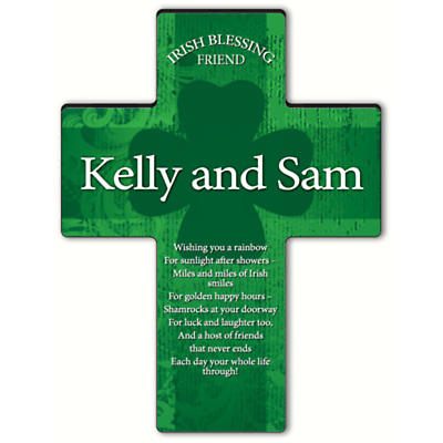 Personalized Irish Blessing Shamrock Cross - Irish Friend Blessing