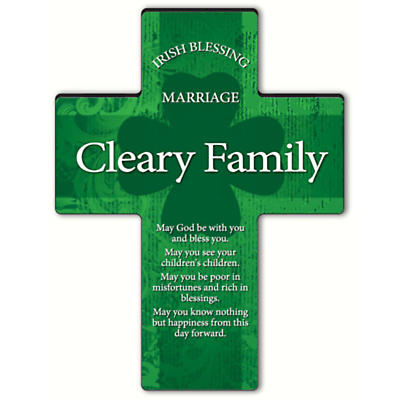 Personalized Irish Blessing Shamrock Cross - Irish Marriage Blessing